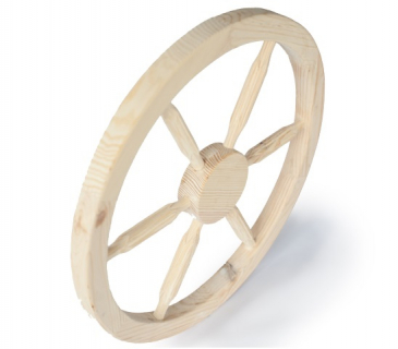 Wooden cart wheel natural finish