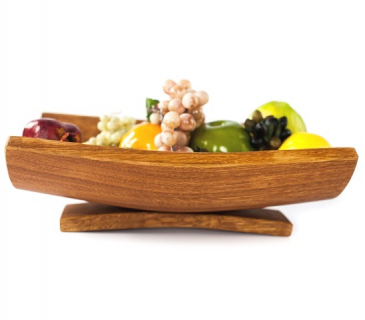 Wooden oak fruit bowl with curved stand