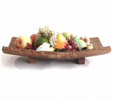 Wooden serving bowl with two stands