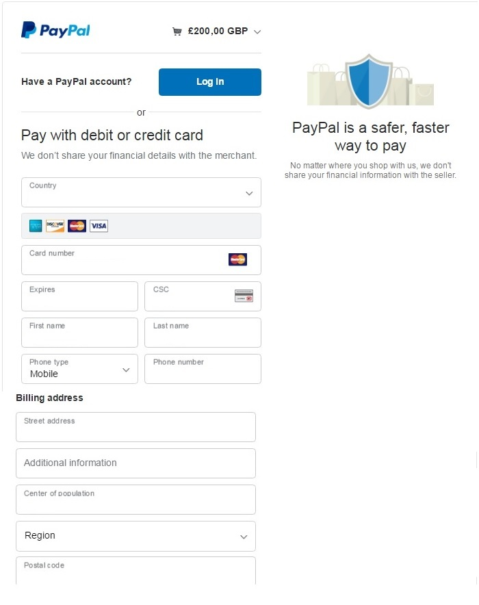 Credit-card-data PayPal and billing address