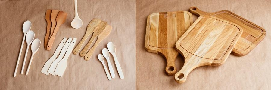 Wooden cooking spoon wooden spatula and wooden serving boards